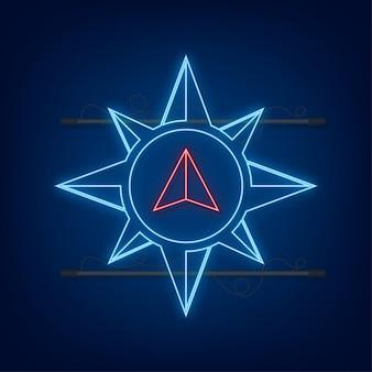 Icône de boussole. symbole de navigation plat. icône néon. illustration vectorielle.
