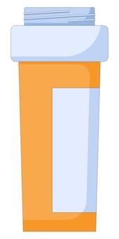 Icône de bouteille de pilule dans un récipient de pilule orange en plastique de médecine de style plat