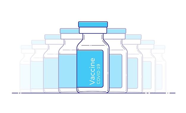 Icône de bouteille de vaccin covid pour la conception médicale. illustration vectorielle isolée dans un style plat avec contour. modèle de flacon d'injection. ampoules en verre. vaccination contre le coronavirus.