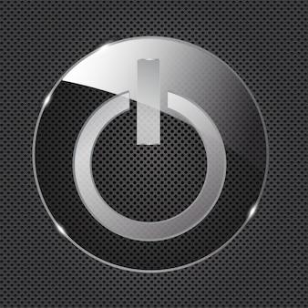 Icône de bouton d'alimentation en verre sur fond métallique. illustration vectorielle
