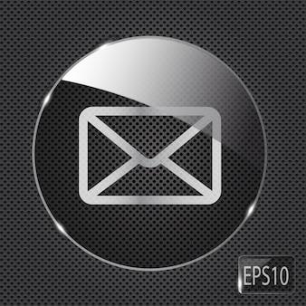 Icône de bouton de courrier en verre sur fond métallique