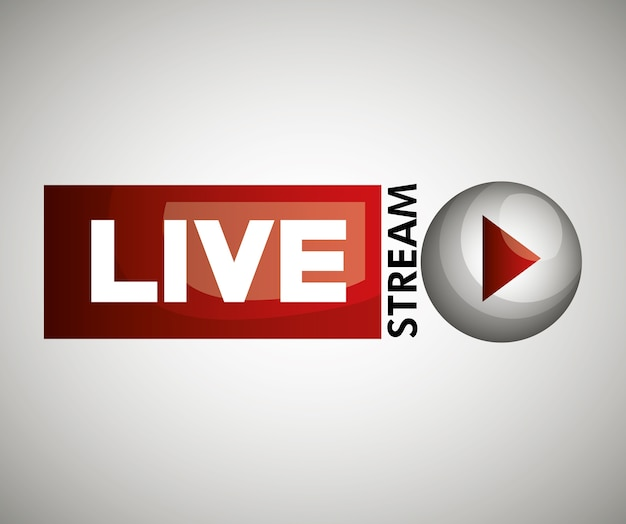 Icône de bouton live streaming design