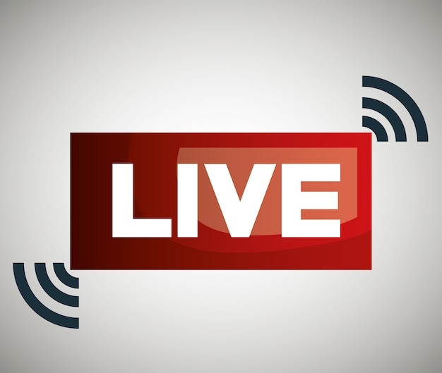 Icône de bouton live streaming design
