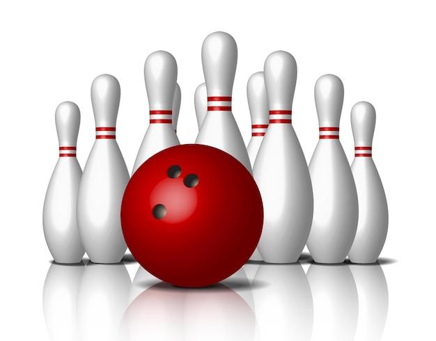 Icône de bowling, boule rouge isolée.