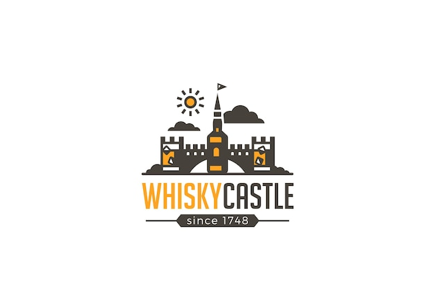 Icône de brasserie de logo de château de whisky de barre de restaurant.