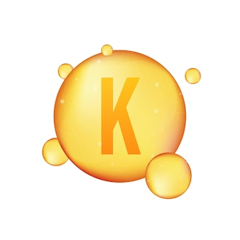 Icône brillante d'or de vitamine k. acide ascorbique. illustration vectorielle.