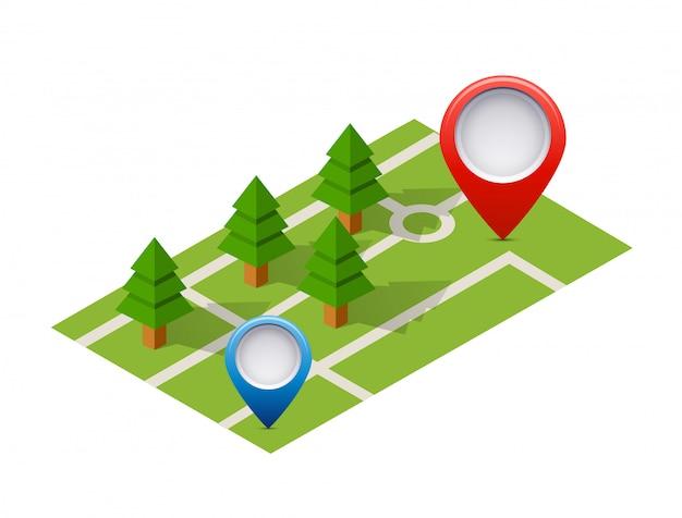 Icône de broche isométrique sur la carte de navigation