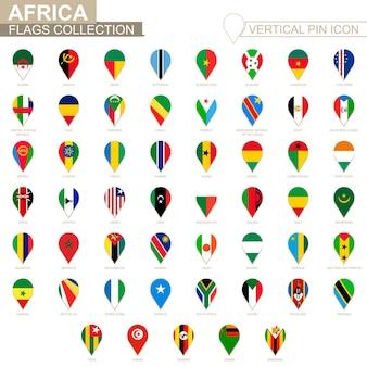 Icône de broche verticale, collection de drapeaux africains.