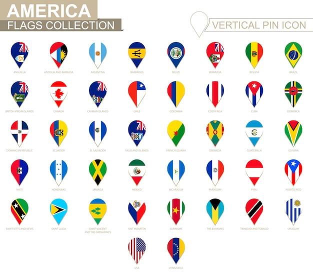 Icône de broche verticale, collection de drapeaux de l'amérique.