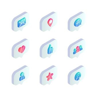 Icône de bulle de dialogue de médias sociaux isométrique. notifications 3d telles que compteur, cœur, main, travail d'équipe, utilisateur, courrier, message, symboles de notation.