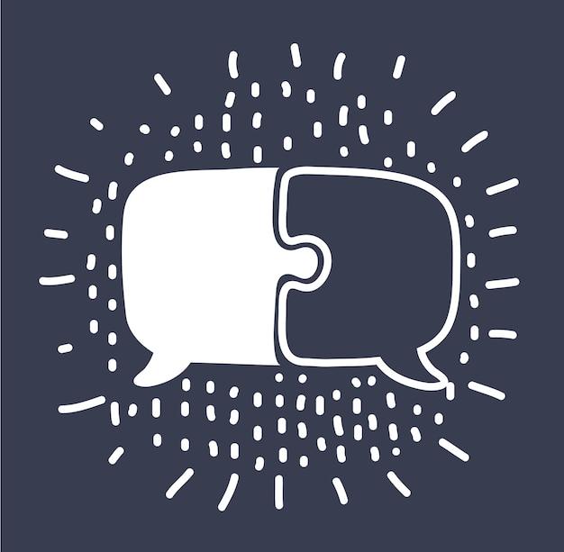 Icône de bulle de dialogue puzzle noir sur fond jauneillustration vectorielle