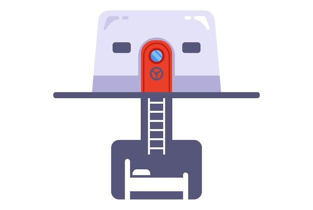 Icône de bunker en béton en cas de guerre nucléaire. illustration vectorielle plane.