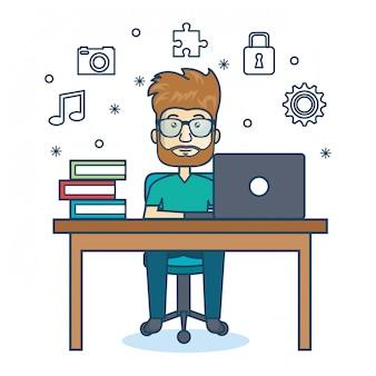 Icône de bureau de travail personne