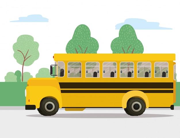 Icône de bus, cours et classe d'étude de véhicules de transport scolaire