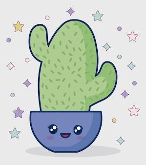 Icône de cactus kawaii