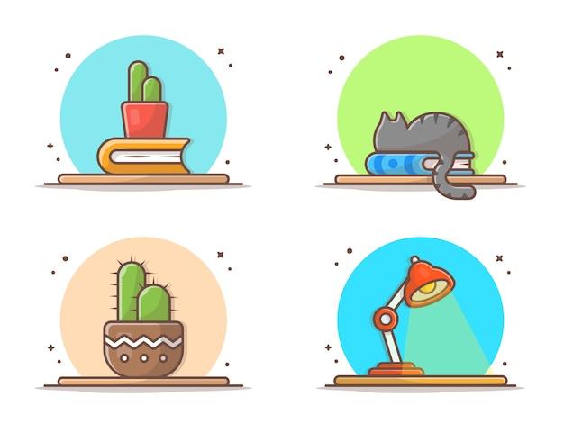 Icône de cactus, livre, chat sur table