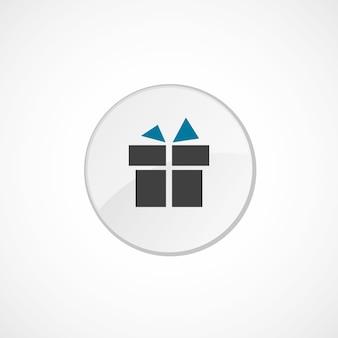 Icône cadeau 2 de couleur, gris et bleu, badge cercle