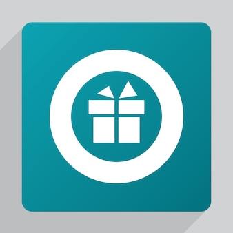 Icône de cadeau plat, blanc sur fond vert