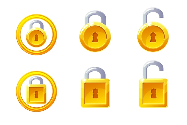 Icône de cadenas de forme carrée et ronde. gui golden level lock.