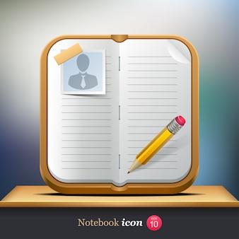 Icône de cahier. organisateur personnel.