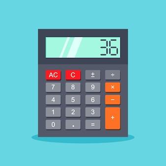 Icône de la calculatrice dans un style branché plat isolé sur bleu
