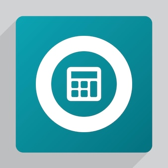 Icône de calculatrice plate, blanche sur fond vert