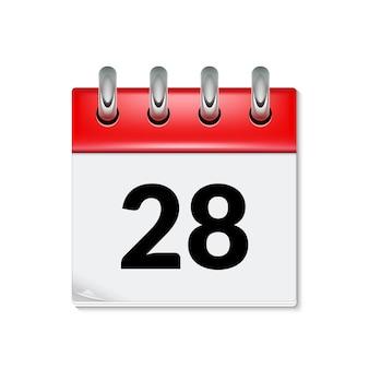 Icône de calendrier avec date 28 jours mois. bouton de conception de calendrier d'événement de rappel de jour d'ordre du jour plat.