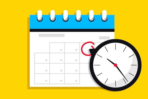 Icône de calendrier avec horloge message de notification d'icône avec symbole d'agenda d'horloge avec le jour important sélectionné