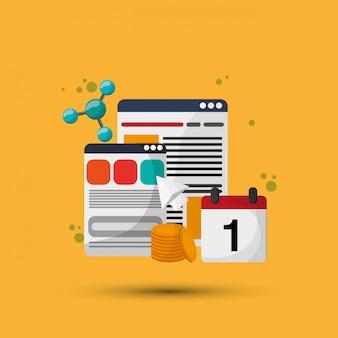 Icône de calendrier en ligne. concept multimédia
