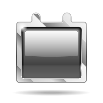 Icône de calendrier en métal brillant