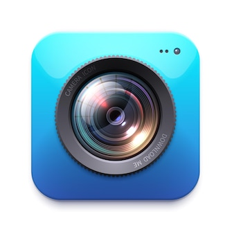 Icône de caméra photo ou vidéo, équipement de photographe isolé. zoom. instantané, étiquette de symbole de photocamera ou emblème. élément de conception, signe ou bouton numérique graphique, lumière parasite 3d pour le contenu web