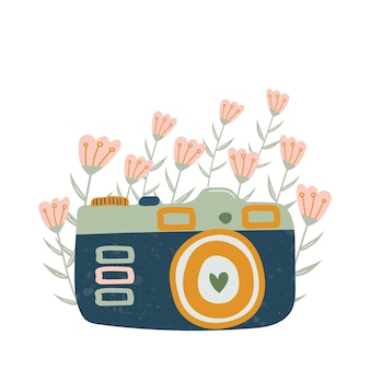 Icône de caméra rétro de dessin animé pour les cartes d'autocollants d'histoires instagram illustration dessinée à la main
