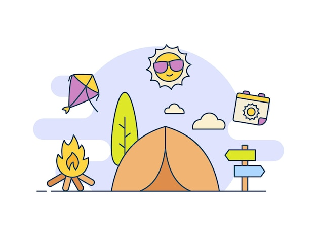 Icône de camp d'été itinérant avec style de couleur de remplissage
