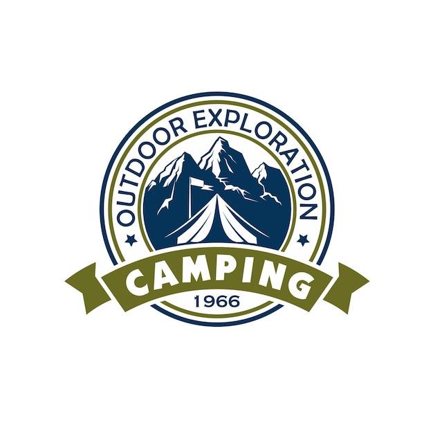 Icône de camping de montagne, tente touristique et drapeau de camp
