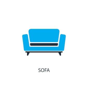 Icône de canapé. illustration d'élément de logo. conception de symbole de canapé de la collection 2 couleurs. concept de canapé simple. peut être utilisé dans le web et le mobile.