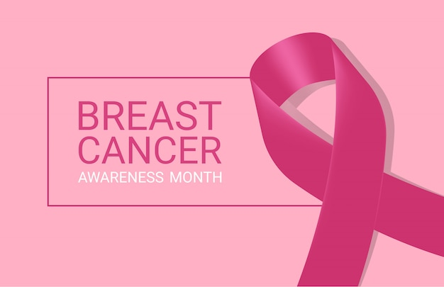 Icône de cancer du sein réaliste avec ruban de sensibilisation rose sur fond blanc.