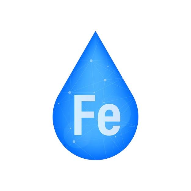 Icône de capsule de pilule brillant bleu minéral fe ferum. illustration vectorielle de stock.