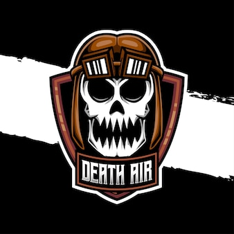 Icône de caractère d'air de crâne de logo d'esport
