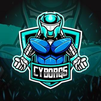 Icône de caractère cyborg esport logo