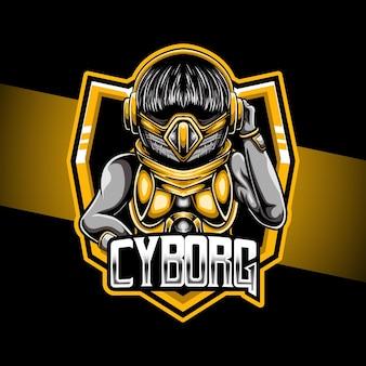Icône de caractère cyborg logo esport