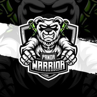 Icône de caractère guerrier panda logo esport