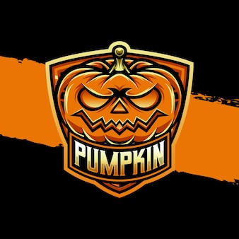 Icône de caractère halloween citrouille logo esport
