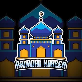 Icône de caractère logo mosquée ramadan kareem esport