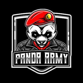 Icône de caractère logo panda army esport