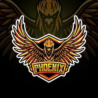 Icône de caractère logo phoenix esport