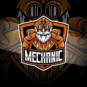 Icône de caractère mécanicien logo esport