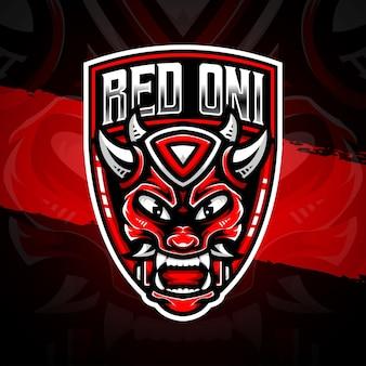 Icône de caractère oni rouge illustration logo esport