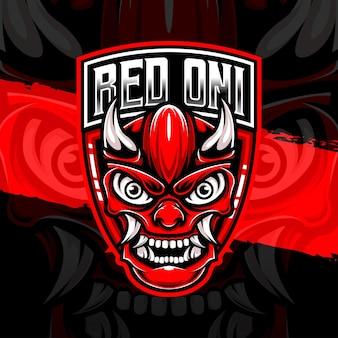 Icône de caractère oni rouge logo esport