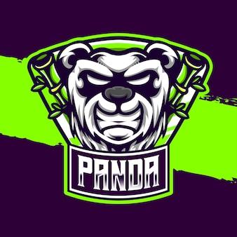 Icône de caractère panda logo esport
