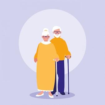 Icône de caractères de couple de grands-parents